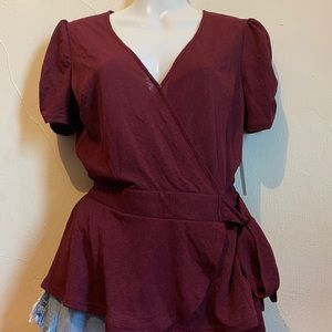 The Workshop Maroon V-Neck Blouse Small